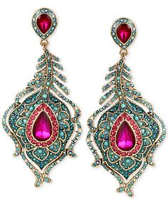 Betsey Johnson Gold-Tone Peacock Feather Crystal and Pavé Chandelier Earrings - Jewelry & Watches - Macy's