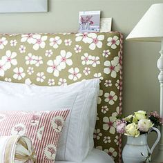 Make your own headboard! Not many pictures but a great tutorial!