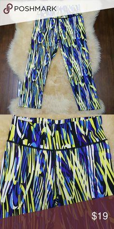 NWT workout capri pants rainbow print 🆕 Workout exercise performance capri pants  High waist  Sizes S-M and L-XL Jean Jacket Clothing Pants Leggings