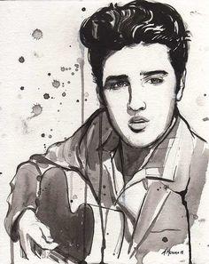 """Rock N Roll Portrait Original Painting """"Elvis Presley"""" (watercolor, black ink, art print, Memphis Tennessee, music, guitar, the king)"""