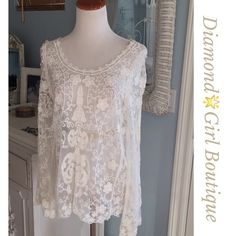 Host PickBohemian Ivory lace tunic nwot Gorgeous soft net tunic with all- over embroidery detailing, scallop hem, slight bell sleeves, looks so chic under fur vest as shown Boutique Tops Tunics