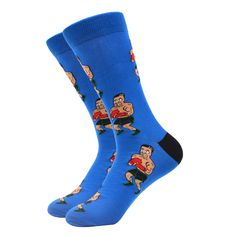Head into the ring and complete your outfit with a knockout punch. Featuring a boxer on a blue background, you will not be disappointed. Made with 80% Cotton, 17% Nylon, and 3% Spandex, these unisex socks are perfect for US Size 7.5-12.5 feet. Funky Socks, Blue Socks, Crazy Socks, Cool Socks, Sport Socks, Happy Socks, Disappointed, Blue Backgrounds, Boxer