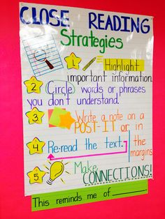 made this poster for my students to refer back to when engaging in close reading. I see these strategies being used daily! They especially love the post-its! (Annotating poster coming soon. Close Reading Strategies, Comprehension Strategies, Reading Skills, Teaching Reading, Reading Comprehension, Guided Reading, Reading Strategies Posters, Reading Passages, Cafe Strategies