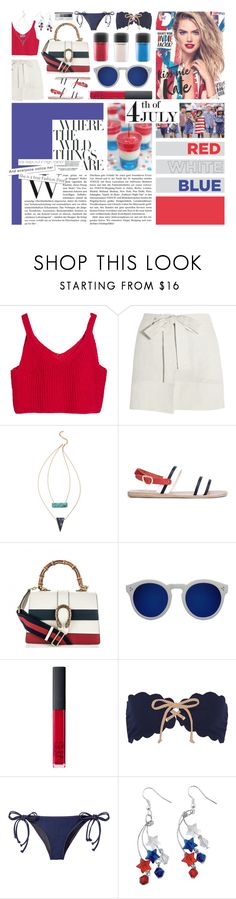 """87. Don't let the only real one intimidate you."" by azerlindak ❤ liked on Polyvore featuring Étoile Isabel Marant, Heather Hawkins, Ancient Greek Sandals, Gucci, Illesteva, NARS Cosmetics, Marysia Swim, Jonathan Simkhai and Clinique"
