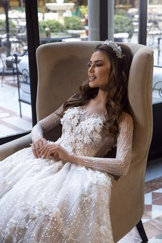 """Gorgeous Embellished A-Lane Princess Wedding Dress / Bridal Ball Gown with Long Sleeves and a Train. Collection """"Fashion Queen"""" by Maks Mariano by Tina Valerdi Hairstyles For Gowns, Wedding Hairstyles For Long Hair, Bride Hairstyles, Wedding Dress Styles, Dream Wedding Dresses, Bridal Dresses, Romantic Wedding Hair, Wedding Looks, Wedding Hair Inspiration"""
