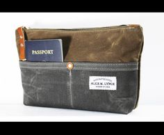 Unisex Zippered heavy canvas pouch with front by AlexMLynch