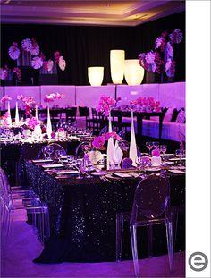 Pink Mitzvah Centerpieces Different Vases, Black Glitter Linens {Eclectic Images} - mazelmoments.com