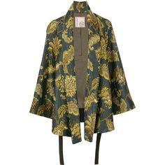 Antonio Marras leaves print kimono jacket ($2,203) ❤ liked on Polyvore featuring outerwear, jackets, multicolor, multi colored jacket, antonio marras, colorful kimono, brown jacket and multi coloured jacket