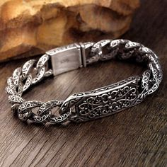 Men's Sterling Silver Ivy Pattern Curb Chain Bracelet - Jewelry1000.com Mens Silver Jewelry, Silver Belts, Silver Man, Sterling Silver Jewelry, Metal Bracelets, Bracelets For Men, Silver Eagles, Bracelet Sizes, Fashion Rings