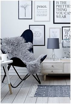 Simple color choice. Love the butterfly chair with the sheepskin. #ButterflyChair