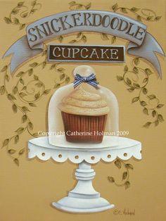 Folk Art Prints   Snickerdoodle Cupcake Folk Art Print by catherineholman on Etsy