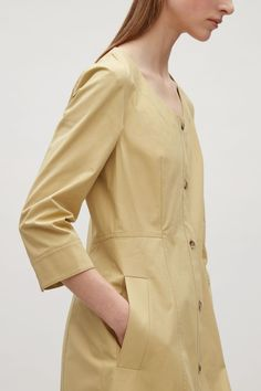 COS image 2 of Button-down shirt dress in Beige