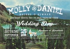 Woodland themed wedding invitation + RSVP card diy printable PDF bears colorado rocky mountains camping country wedding
