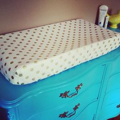 Cream and Gold Dot Changing Pad Cover for Baby. Gender Neutral Nursery Decor.