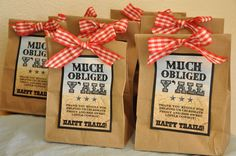 """Western/Cowboy Baby Shower """"Happy Trails"""" Trail Mix Party Favors - this might be a cheaper/easier favor option... what do you ladies think? @Yvette Kearney @Melissa Foresta"""