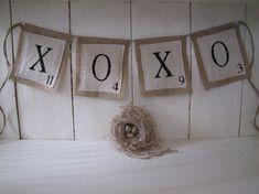 Items similar to XOXO Original Scrabble Burlap Banner, Valentines Day, Wedding Banner, Industrial Style on Etsy Valentines Day Dinner, Valentines Day Weddings, Be My Valentine, Valentine Ideas, Board Game Wedding, Wedding Day, Wedding Flowers, Dream Wedding, Valentine Decorations