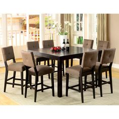 @Overstock.com - Catherine Espresso Counter-height Dining Set  - This counter-height dining set will bring style and sophistication into your dining space. The espresso wood finish and natural textured upholstery blend with your surrounding decor. The set comes with one solid table and six sturdy counter chairs.  http://www.overstock.com/Home-Garden/Catherine-Espresso-Counter-height-Dining-Set/5710980/product.html?CID=214117 $1,173.99