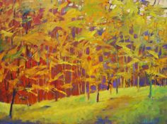 "Ken Elliott / For the Color: New Work: ""Yellows with Reds Insisting"", Oil on canvas 30 x 40 inches.  This oil was done as a demonstration at my Making it Fine Art Workshop in Halibut Cove, Alaska. I wanted to do something expressive that would be dramatic and elegant. The paint went on thick and I used some grays, adding them right into the yellows at the right.  more info: http://forthecolor.blogspot.com/2014/08/new-work-yellows-with-reds-insisting.html"