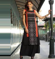 black & orange printed round neck sleeveless kurta