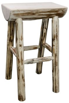 "Handcrafted in Montana, this unique ""half log"" barstool features genuine lodge pole pine, mortise and tenon joinery and time honed skills to ensure a true heirloom quality item.  The master craftsmen at Montana Woodworks® carefully select the raw material for the barstool, choosing only the finest of logs to create this special barstool.  The Montana Collection half log barstool is skip-peeled by hand using old-fashioned draw knife to create a unique, one of a kind appearance that will…"