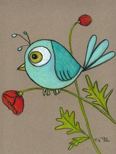 Blue bird on a personalized felted poppy print 8 X 10 - This adorable blue bird print would be a perfect gift for the bird lovers in your life! Bird Drawings, Easy Drawings, Drawing Birds, Bird Drawing For Kids, Vogel Silhouette, Art Fantaisiste, Art Pierre, Custom Mats, Whimsical Art