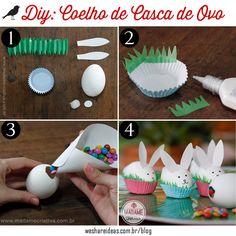 casca de ovo em forma de coelhinho recheada com confeitos de chocolate, tipo mm's para a páscoa. Mais ideias de lembrancinhas no blog.