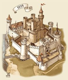 DeviantArt: More Collections Like Medieval town 3 by Fantasy City, Fantasy Castle, Fantasy Map, Medieval Life, Medieval Castle, Chateau Moyen Age, Castle Drawing, Chateau Medieval, Château Fort