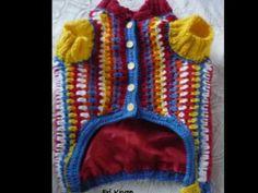 Moda pet, roupa de caes em croche dog sweater, Häkel Hundkleidung, .wmv