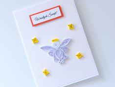 Oryginalna ręcznie robiona kartka świąteczna z aniołkiem quilling Quilling, Paper, Bedspreads, Quilting, Paper Quilling