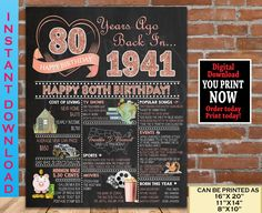 80th Birthday Party Decoration Poster, 1941 ROSE GOLD Birthday Gift, 80th Birthday Gift for Woman - Back in Year 1941 Digital Printable File 80th Birthday Gifts, Sweet 16 Birthday, Birthday Gifts For Women, 21st Birthday, Birthday Signs, Gold Birthday, Chalkboard Party, Birthday Chalkboard, Chalkboard Poster