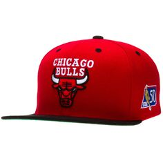 188ad0e5fc5 Chicago Bulls Red Primary Logo Black Bill Snapback Hat