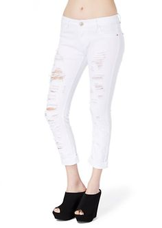 image of White Distressed & Cropped Jean