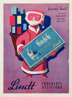 Tur-Shalom on Merry Christmas from Lindt poster via Christmas from Lindt poster via Vintage Advertising Posters, Vintage Advertisements, Vintage Ads, Vintage Posters, Retro Posters, Swiss Chocolate, Lindt Chocolate, Chocolate Factory, Lindt Lindor