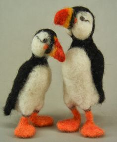 A Pair of Needle Felted Puffins