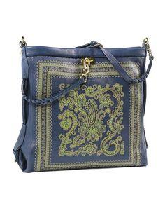 Etro borsa atracolla in pelle di cervo stampata a motivo foulard