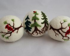 3 Wool Dryer Balls, Cardinals On Evergreens, Laundry Aids, All Natural, Hand Crafted Gifts Felt Christmas Ornaments, Noel Christmas, Christmas Crafts, Handmade Christmas, Needle Felted Ornaments, Hedgehog Craft, Felted Soap, Wool Dryer Balls, Felt Crafts