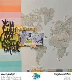 Bunterpinguin: Scrapbooklayout für Scrapabilly mit Simple Stories You are here und Cutfile von Wilna Furstenberg
