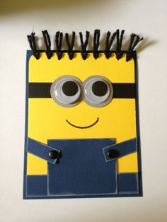 "Despicable Me Minion card. Would be cute to write ""you're one in a minion"" in white on the overalls Boy Cards, Kids Cards, Cute Cards, Kids Birthday Cards, Fathers Day Cards, Card Tags, Creative Cards, Greeting Cards Handmade, Scrapbook Cards"