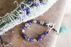 Purple sun/moon bracelet with hemalyke by Paoniasage on Etsy