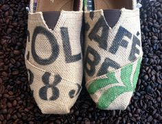 Tom's shoes painted to look as if they were made from reused coffee bags. genius!  oh Santa........ :)