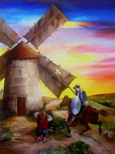 Don Quixote's Windmill Adventure Painting by Dominica Alcantara - Don Quixote's Windmill Adventure Fine Art Prints and Posters for Sale