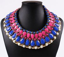 Chunky Tribal Oval Drop Rose Red and Blue Beaded Bib Choker Collar Torsade 18K Gold Necklace(China (Mainland))