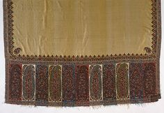 Shawl, India, Kashmir, circa 1815, LACMA Collections Online Historical Costume, Historical Clothing, Regency Gown, Regency Era, Kashmiri Shawls, Types Of Jackets, Indian Textiles, Costume Collection, Textile Fabrics