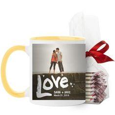Full of Love Mug, Yellow, with Ghirardelli Peppermint Bark, 11 oz, White