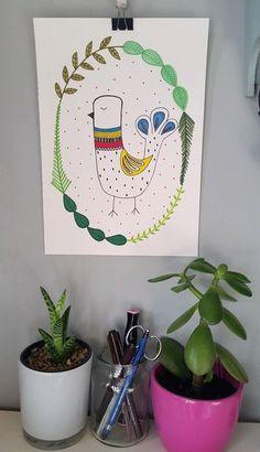 Little Scandi bird. A4 print of my original by PensAndPositivity https://www.facebook.com/pensandpositivity/