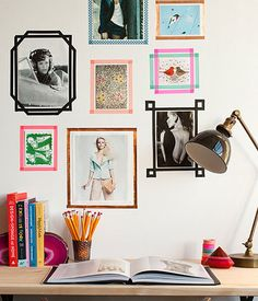 Washi tape is no longer just a basic crafting supply. If you want to be clever and creative this washi tape frame is a must-try for your teen's room wall. Simply pick the perfect wall art or images, then, use some washi tape for an inexpensive frame. Washi Tape Wall, Tape Wall Art, Washi Tape Crafts, Washi Tapes, Tape Art, Paper Tape, Diy Washi Tape Frames, Diy Crafts, Diy With Washi Tape