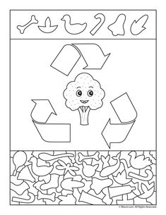 Please Recycle Preschool Activity Page - DIY Recycling Free Kindergarten Worksheets, Worksheets For Kids, Recycled Crafts Kids, Crafts For Kids, Hidden Pictures Printables, Sudoku, Recycling, Preschool Activities, Earth Day