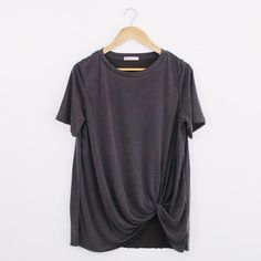 • Charcoal grey t shirt • Available in S, M, L • 74% Modal, 26% polyester • Hand wash cold, hang dry