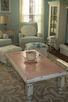 Old door painted pink makes the sweetest table top.