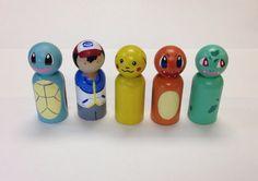 Pokemon peg dolls 5pc set by PegHeads on Etsy, $30.00